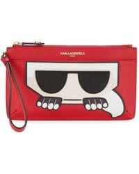 Karl Lagerfeld Peeking Karl Wristlet - Red