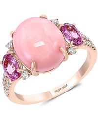 Effy 14k Rose Gold, Pink Opal, Pink Sapphire & Diamond Solitaire Ring