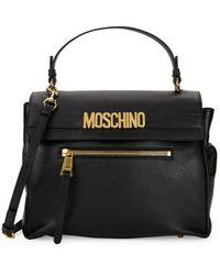 Moschino Logo Plaque Leather Satchel - Black