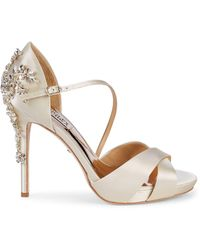 Badgley Mischka Fame Embellished Satin D'orsay Pumps - White