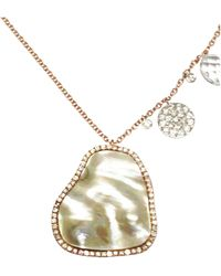 Meira T Rose Gold Mother Of Pearl Necklace & Diamonds Necklace - Metallic