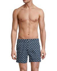 Onia Men's Calder Polka Dot Swim Trunks - Blue - Size 36