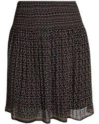 Max Studio Plus Ditsy-print Chiffon Skirt - Black