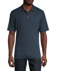 Threads For Thought James Dirt Road Striped Polo - Blue