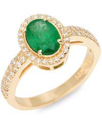 Effy 14k Yellow Gold Emerald & Diamond Ring - Metallic