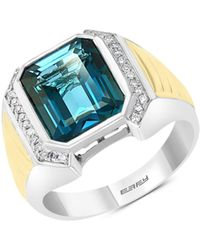 Effy 18k Goldplated, Sterling Silver, Diamond & London Blue Topaz Solitaire Ring