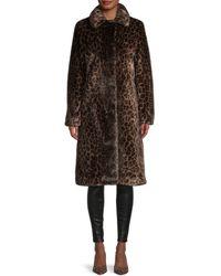 Donna Karan Leopard Faux Fur Coat - Brown