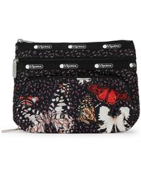 679959b6589 LeSportsac - Large Taylor Floral Butterfly Print Logo Cosmetics Pouch - Lyst