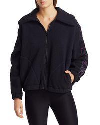 Terez Plaid-detailed Fleece Jacket - Black