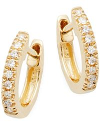 Saks Fifth Avenue 14k Yellow Gold & Diamond Huggie Hoop Earrings - Metallic