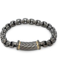 Saks Fifth Avenue Stainless Steel & Goldtone Herringbone Chain Bracelet - Gray