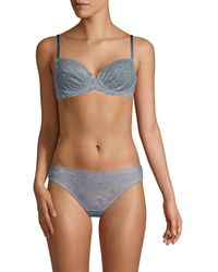 Samantha Chang Women's Embroidered Lace Underwire Bra - Ocean - Size 32 D - Blue