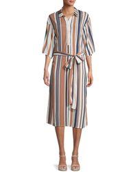 Dress Forum Striped Midi Shirt Dress - Blue