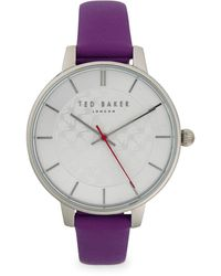 Ted Baker Stainless Steel & Leather-strap Watch - Purple
