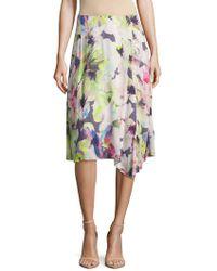 Basler - Floral-print Asymmetric Ruffled Skirt - Lyst