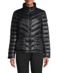 Calvin Klein Women's Stand Collar Puffer Jacket - Black - Size M