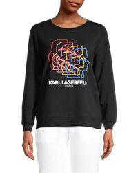 Karl Lagerfeld Women's Logo Graphic Sweatshirt - White Rainbow - Size Xs