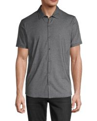 Zachary Prell Solid Cotton-blend Button-front Shirt - Grey
