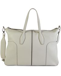 Tod's Stitched Leather Satchel - Gray