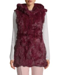 Adrienne Landau - Hooded Rabbit Fur Vest - Lyst