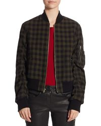 A.L.C. Andrew Gingham Wool Bomber Jacket - Red