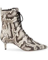 Alexandre Birman Women's Millen Python-print Leather Kitten-heel Booties - Natural Black - Size 35 (5) - Multicolour