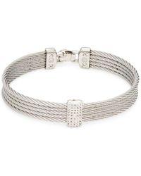Alor Women's 14k White Gold Stainless Steel & White Topaz Rope Bangle Bracelet - Metallic