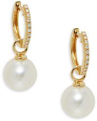 Belpearl 18k Yellow Gold, 9mm White Freshwater Pearl & Diamond Earrings - Multicolour