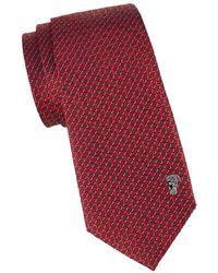 Versace Men's Geometric Silk Tie - Blue