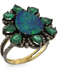 Meira T 14k Yellow Gold, Emerald Opal & Brown Diamond Floral Ring - Multicolour