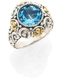 Effy - Blue Topaz, Sterling Silver & 18k Yellow Gold Ring - Lyst