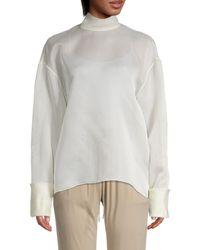 The Row Silk Turtleneck Top - White