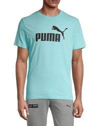 PUMA Men's Logo Graphic Short Sleeve T-shirt - Blue - Size S