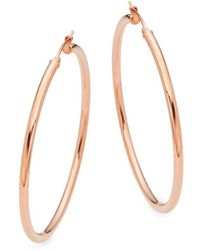 Saks Fifth Avenue - Rose Gold Hoops/ 2.5'' - Lyst