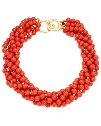 Kenneth Jay Lane Women's Goldtone Chunky Bead Necklace - Red