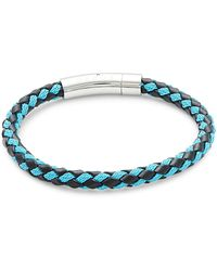Tateossian Sterling Silver & Leather Braided Bracelet - Blue