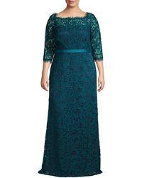 JS Collections Plus Boatneck Eyelash Lace Gown - Blue