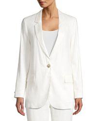 Peserico Women's Stretch Linen-blend Single-button Blazer - Ivory - Size 46 (10) - White