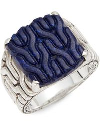 John Hardy - Sterling Silver & Lapis Textured Ring - Lyst