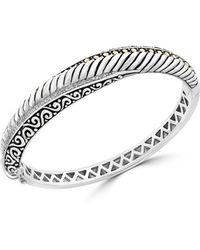 Effy - 18k Gold & Sterling Silver Diamond Bangle Bracelet - Lyst