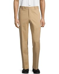 Zanella Parker Flat Front Trousers - Natural