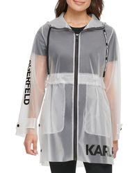 Karl Lagerfeld Logo Translucent Raincoat - White