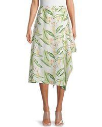 BCBGMAXAZRIA Tropical-print Asymmetrical Midi Skirt - Green