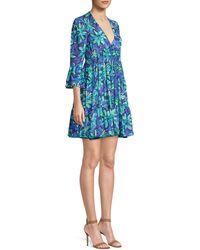 Michael Kors V-neck 3/4-sleeve Daisy-print Babydoll Dress - Blue