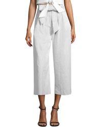 MILLY Natalie Belted Seersucker Trousers - White