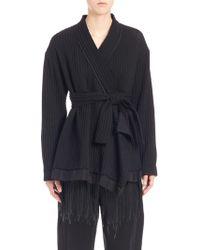 Ms Min - Ribbed Wool Kimono Coat - Lyst