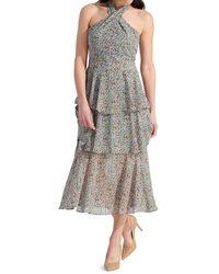 Sam Edelman Women's Printed Tiered Midi Dress - Dusty Blue - Size 14 - Multicolor