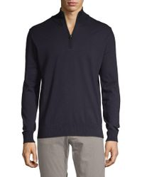 French Connection Stretch Cotton Quarter Zip Sweater - Blue