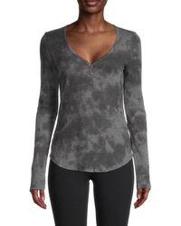 Michael Stars Women's Briann Rib-knit Henley - Oxide - Size Xs - Grey
