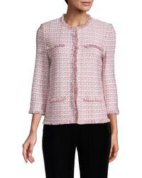 St. John Fringed-trimmed Tweed Jacket - Pink